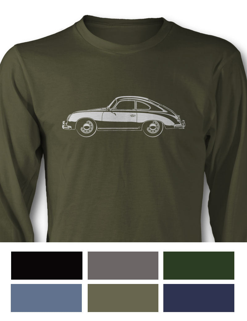 Porsche 356 Pre-A Coupe Long Sleeve T-Shirt - Side View