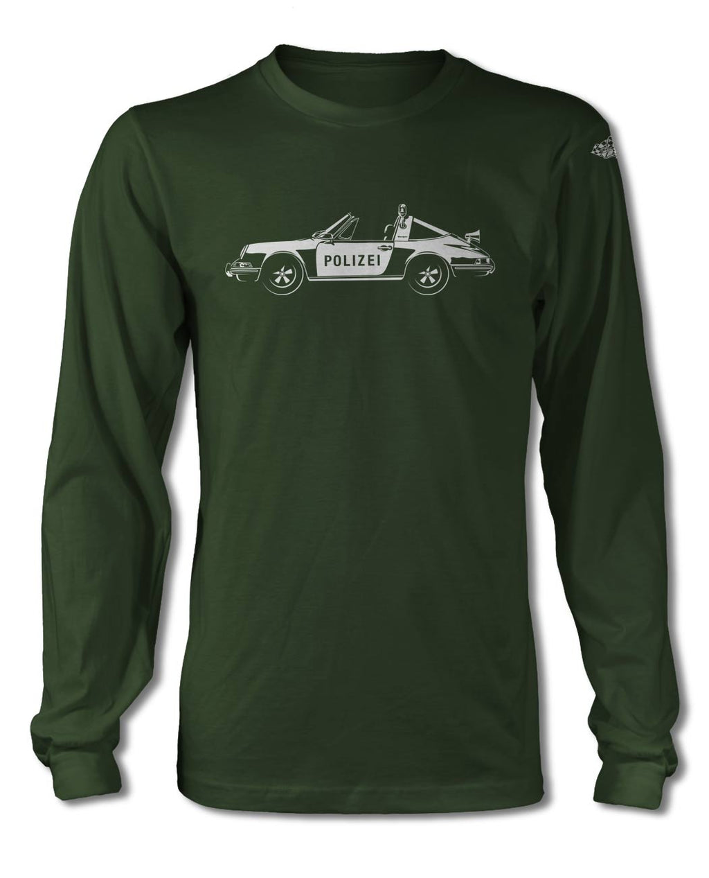 Porsche 911 Targa German Polizei (police) 1971 T-Shirt - Long Sleeves - Side View