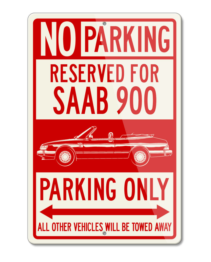 Saab 900 Turbo Convertible Reserved Parking Only Sign - Side View