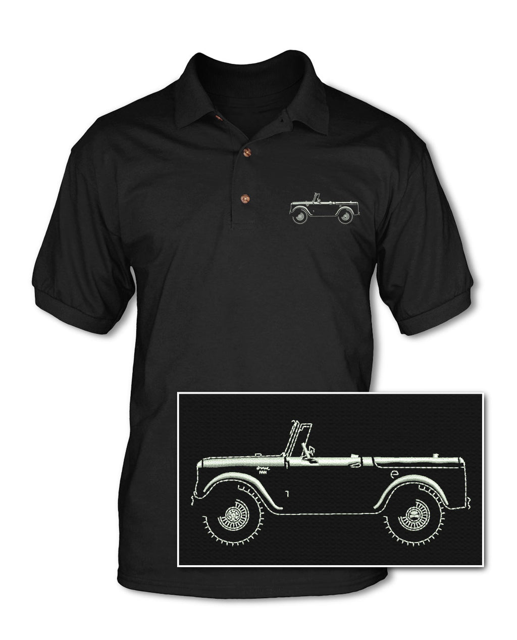 1960 - 1965 International Scout I Adult Pique Polo Shirt - Side View