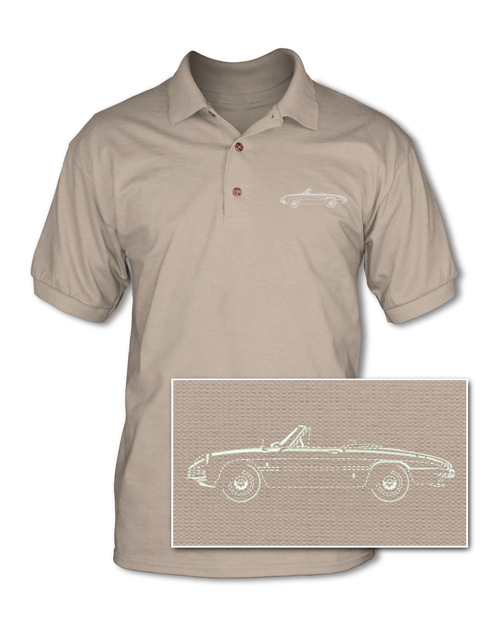 Alfa Romeo Spider Veloce Convertible Duetto 1966 - 1969 Adult Pique Polo Shirt - Side View
