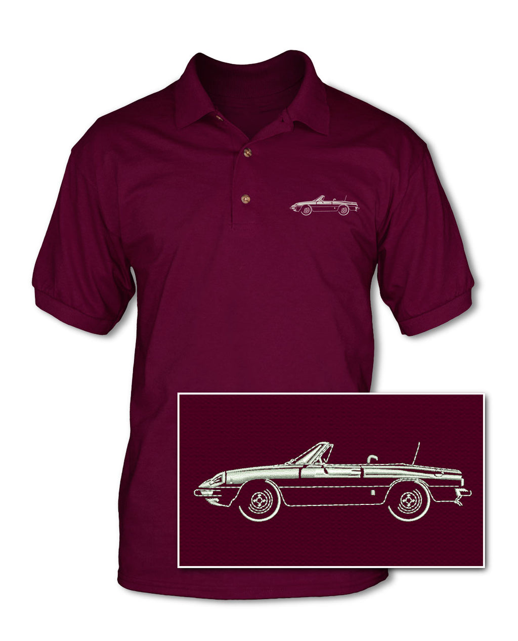 Alfa Romeo Spider Veloce Convertible 1970 - 1982 Adult Pique Polo Shirt - Side View