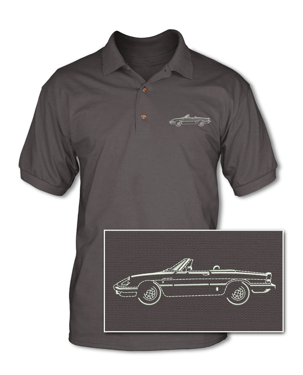 Alfa Romeo Spider Veloce Convertible Graduate 1983 - 1989 Adult Pique Polo Shirt - Side View