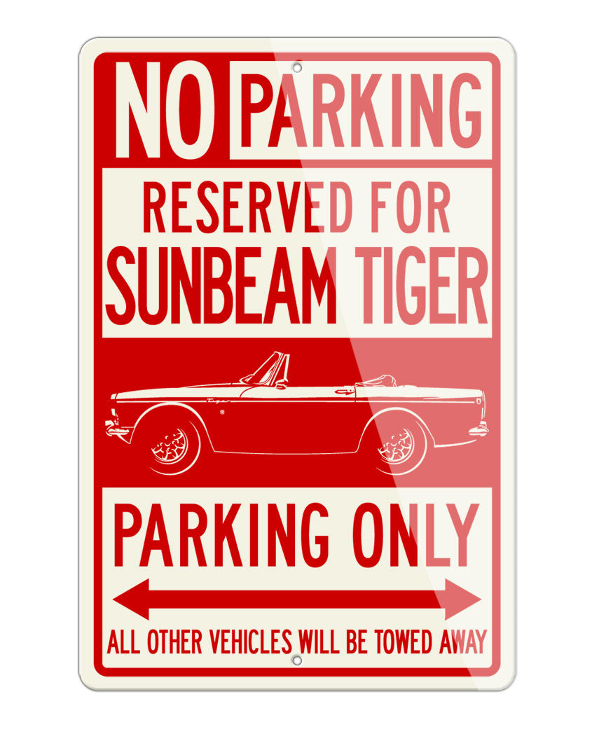 Sunbeam Tiger Convertible Reserved Parking Only Sign