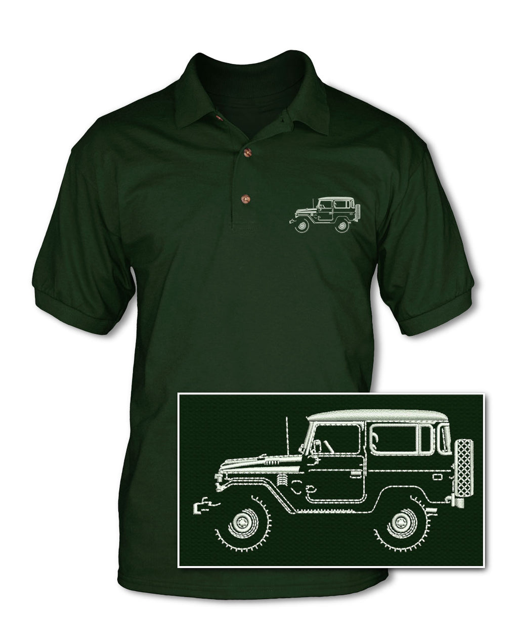 Toyota BJ40 FJ40 Land Cruiser 4x4 Adult Pique Polo Shirt - Side View