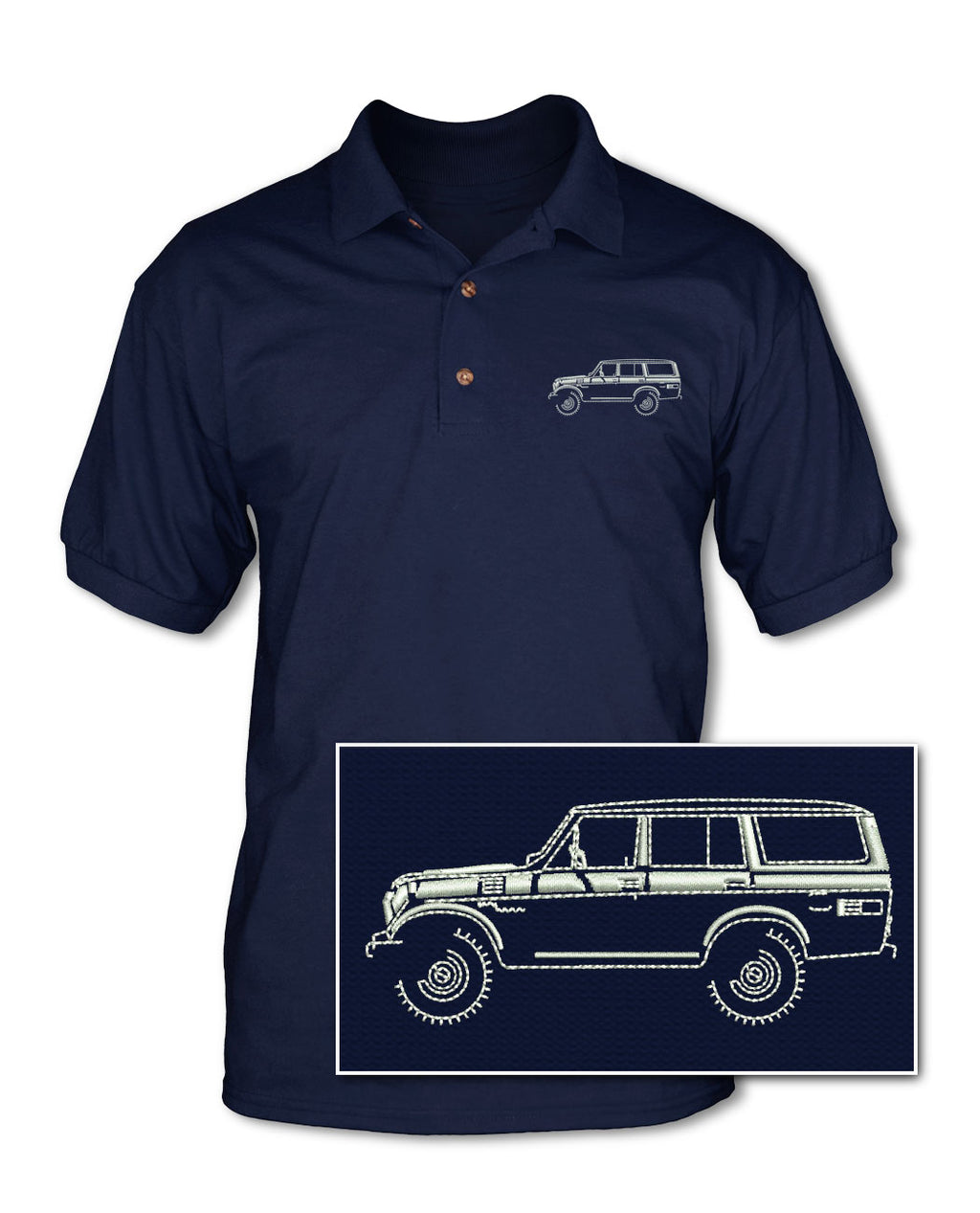 Toyota BJ55 FJ55 Land Cruiser 4x4 Adult Pique Polo Shirt - Side View