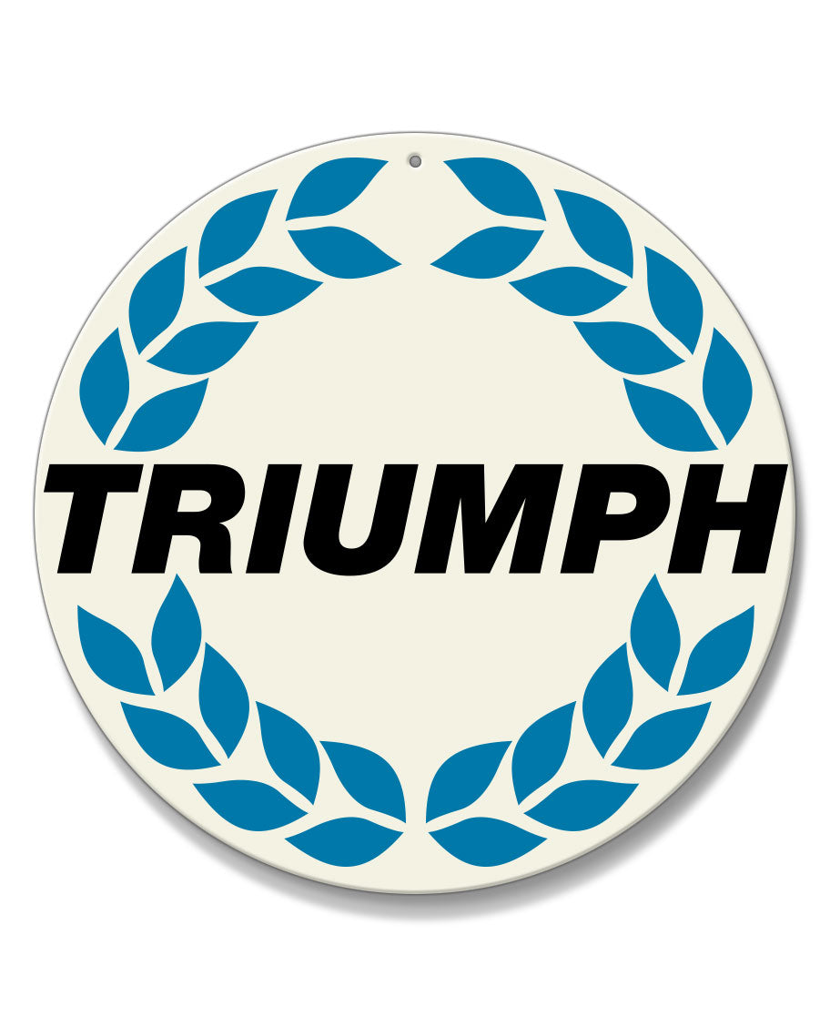Triumph Wreath Emblem Round Aluminum Sign