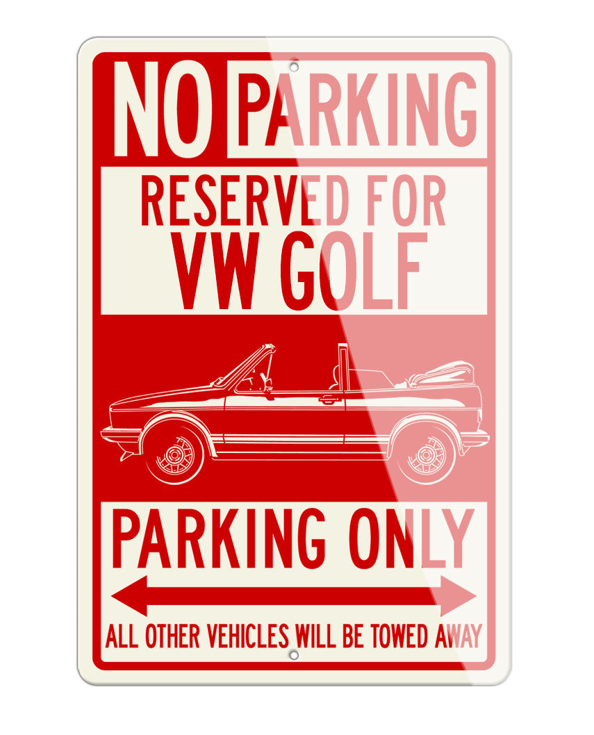Volkswagen Golf Rabbit Cabriolet Convertible Reserved Parking Only Sign