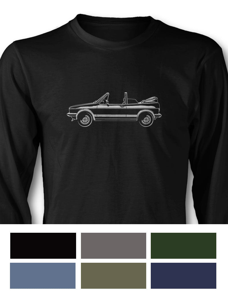 Volkswagen Golf Rabbit Cabriolet Convertible Long Sleeve T-Shirt - Side View