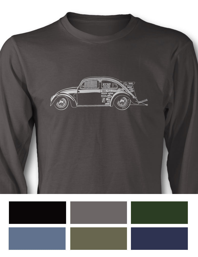 "Volkswagen Beetle ""Dragster"" Long Sleeve T-Shirt - Side View"