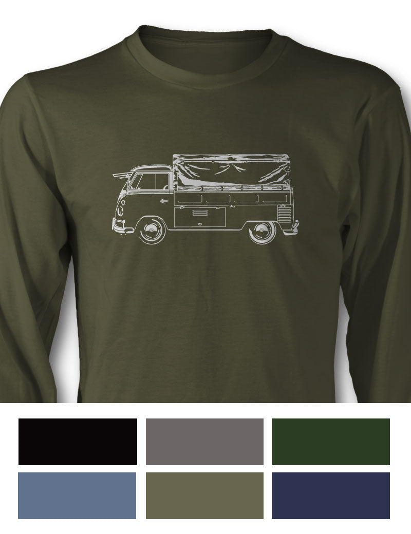 Volkswagen Kombi Utility Pickup Covered Bed Long Sleeve T-Shirt - Side View