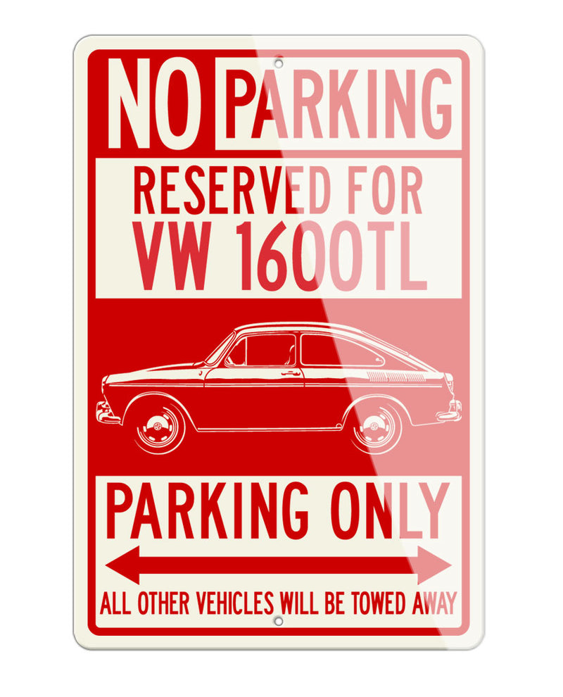 Volkswagen Type 3 Fastback 1600TL Reserved Parking Only Sign