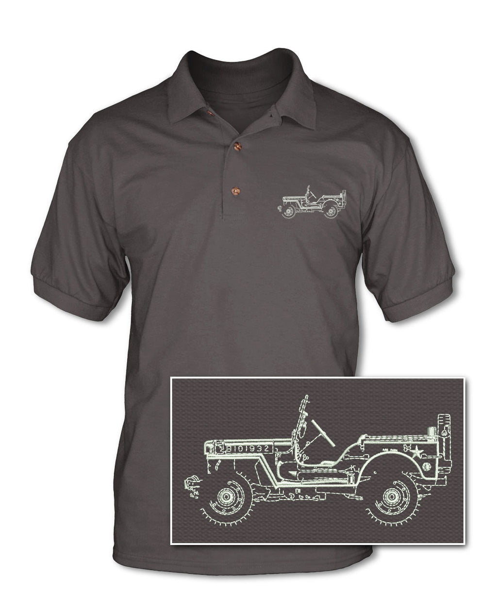 Jeep Willys WWII 1941 - 1945 Adult Pique Polo Shirt - Side View