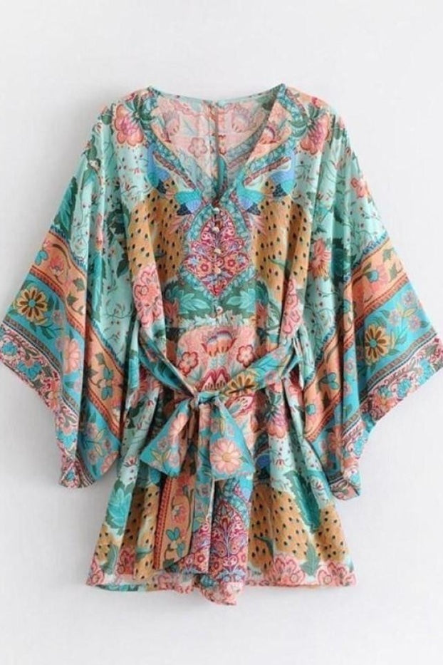 2018 Summer Beach Boho Jumpsuits Women Peacock Printed Jumpsuit Loose-Fitting Sleeve With Belt Casual Romper Short Plus Size - Jumpsuit