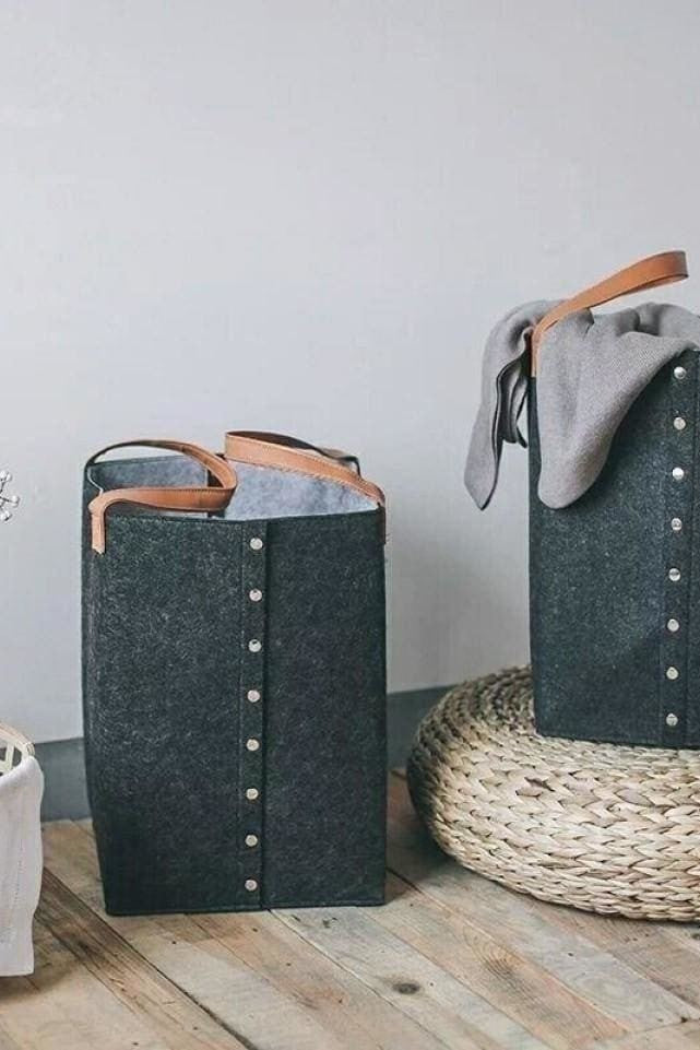Dark Grey Laundry Hamper - Home Goods