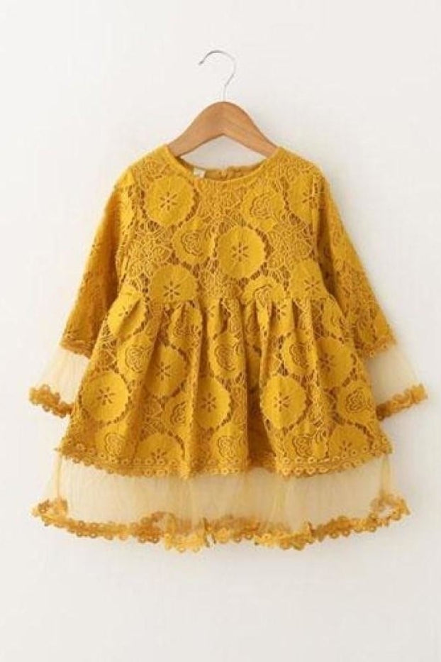 Lace Petal Sleeve Dress - Yellow / 2T - Dress