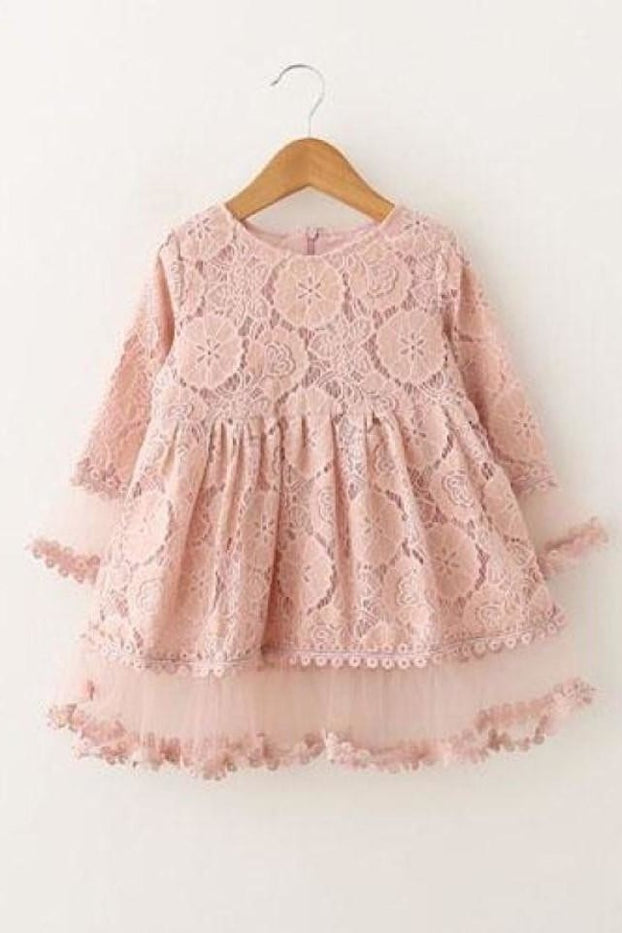 Lace Petal Sleeve Dress - Pink / 2T - Dress