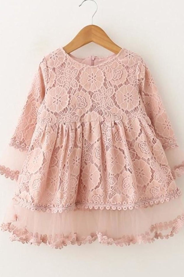 Lace Petal Sleeve Dress - Dress