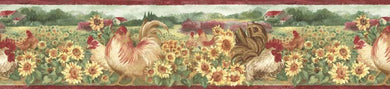Sunflower Roosters BG76315 Wallpaper Border