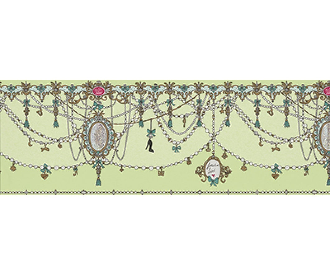 Ornamental Charms Swags Green 0097-07 Wallpaper Border