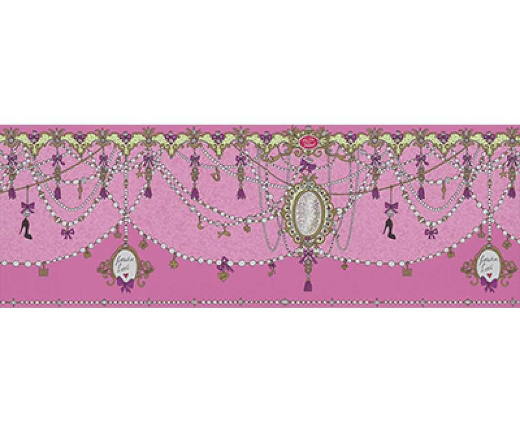 Ornamental Charms Swags Pink 0097-17 Wallpaper Border