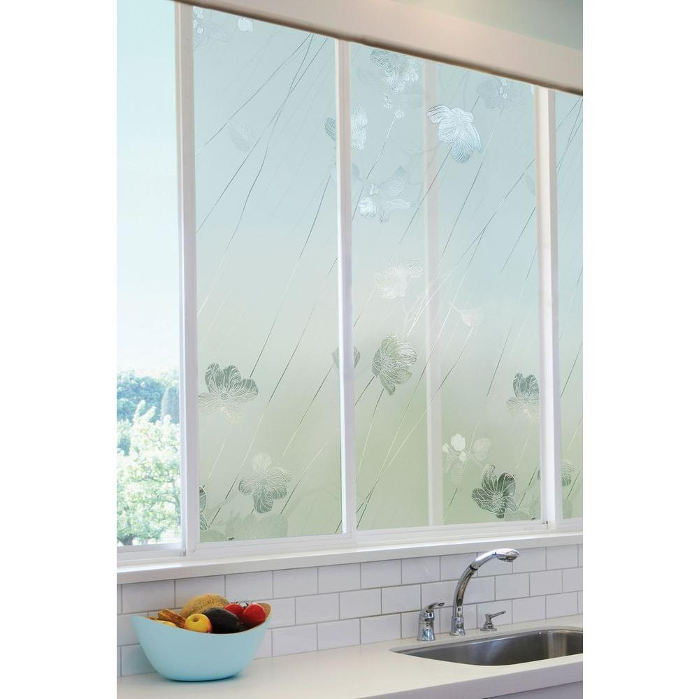 Silver Rose Glass Textured Window Film