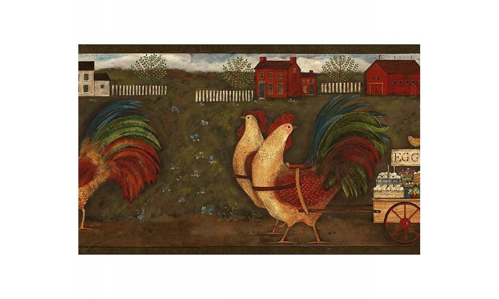 Rust Country Roosters GG54142 Wallpaper Border