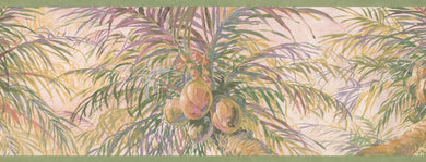 Coconuts on Palm Trees Blush Pink HV6014B Wallpaper Border