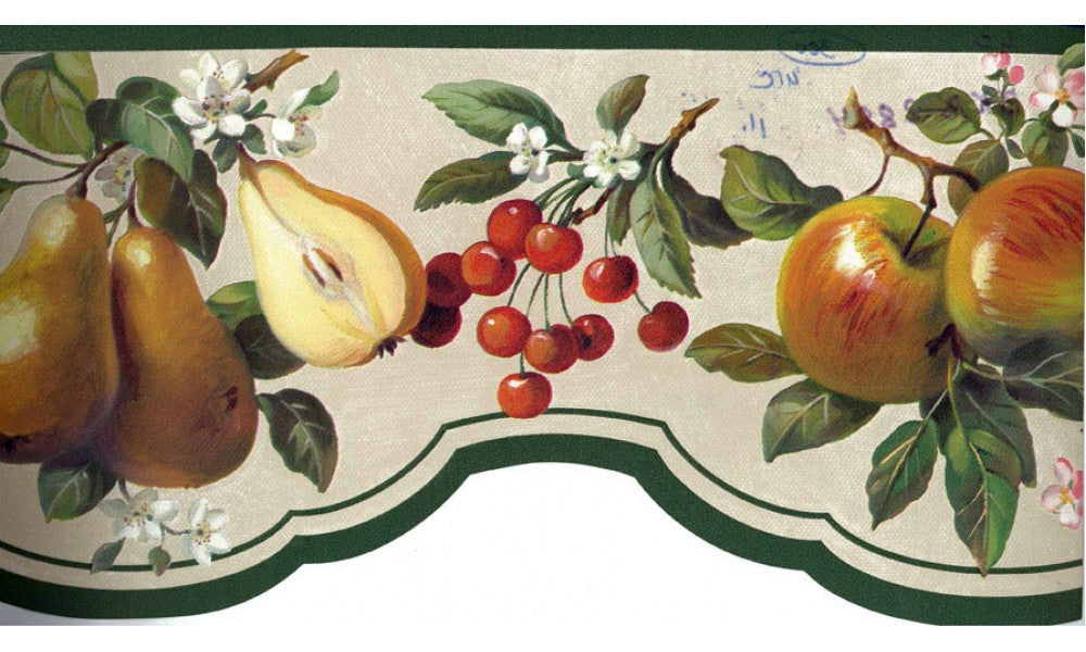 Green Peach Apples BKB2884 Wallpaper Border