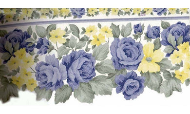 Blue Roses Yellow Flowers 8242362 Wallpaper Border