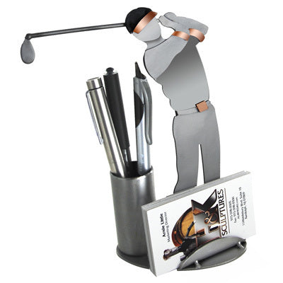 Golfer Driving Business Card Holder
