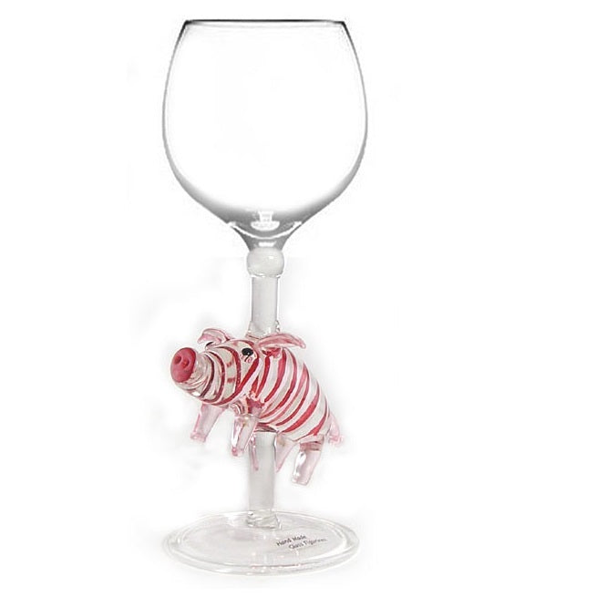 Red Pig Hand Blown Wine Glass