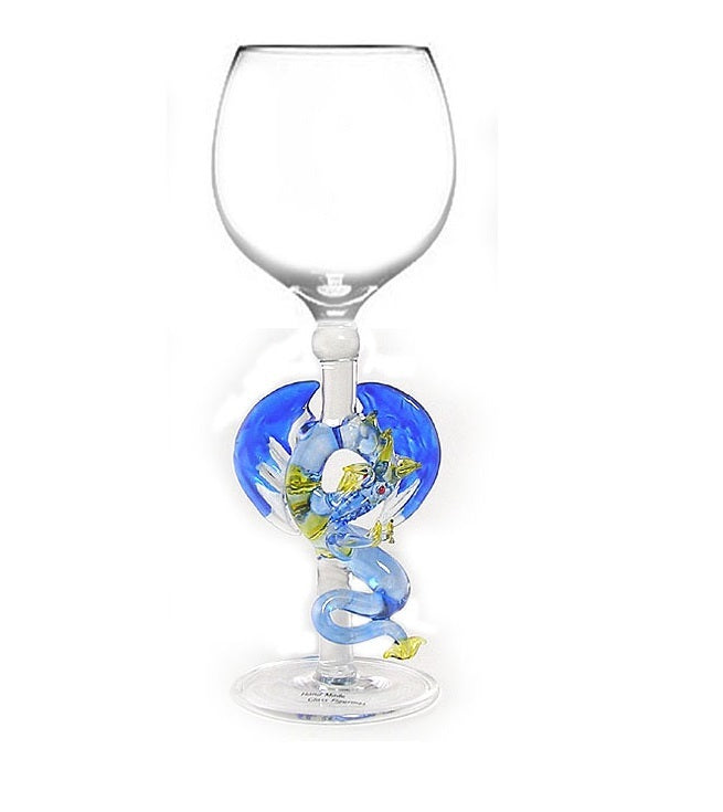 Blue Dragon Hand Blown Wine Glass