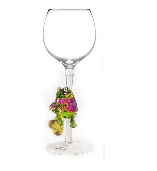 Purple Frog playing saxophone Hand Blown Wine Glass