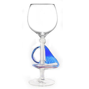 Blue Sailboat Hand Blown Wine Glass
