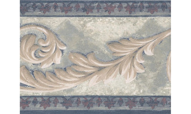 Navy Bordo Cream Leaf Molding AR77956B Wallpaper Border