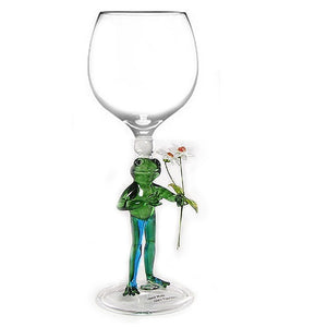 Green Frog / Flowers  Hand Blown Wine Glass