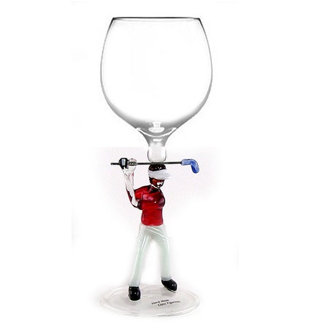 Red Golfer  Hand Blown Wine Glass