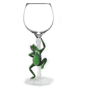 Green Frog Hand Blown Wine Glass