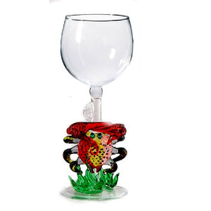 Red Crab w/ coral Hand Blown Wine Glass