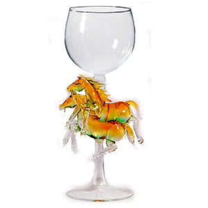 Gold Two Horses Hand Blown Wine Glass