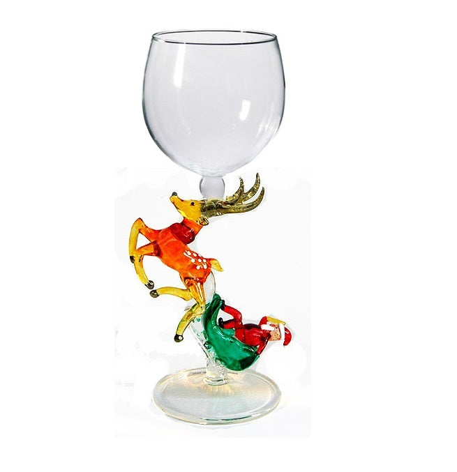 Gold Santa with sleigh Hand Blown Wine Glass