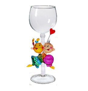 Gold Valentine kids Hand Blown Wine Glass