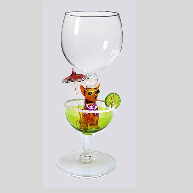 Lime Chihuahua Margarita Hand Blown Wine Glass