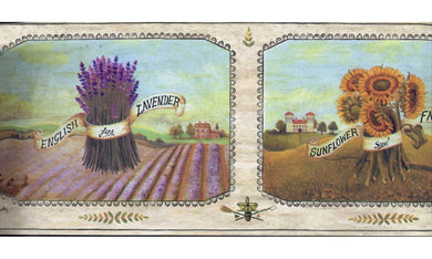 Framed English Lavender Farm AAI8002 Wallpaper Border
