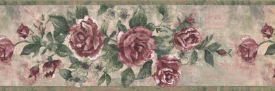 Vintage Bloomed Magenta Pink Roses on Vine FFM10171B Wallpaper Border
