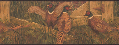 Pheasant in the Yard Village OA8103B Wallpaper Border