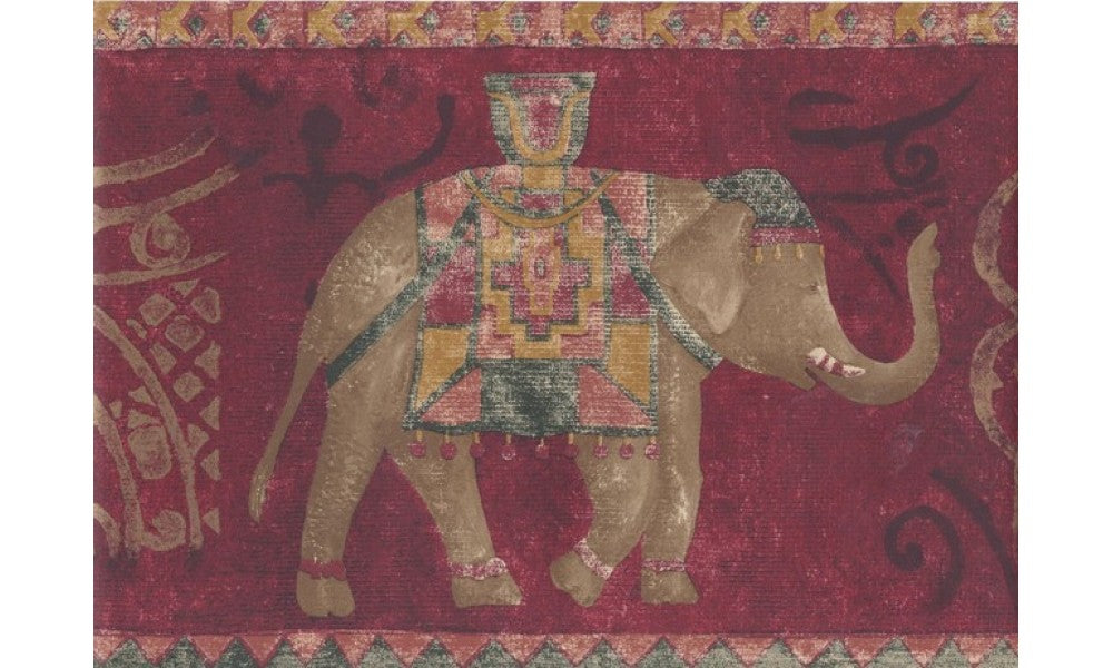 Gold Red Traditional Elephant AR75375B Wallpaper Border