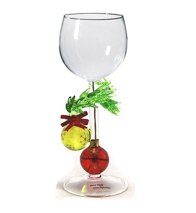 Christmas Two Ornaments Hand Blown Wine Glass