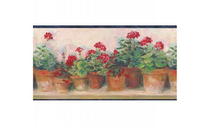 Blue and Red Floral Geraniums PC95081 Wallpaper Border